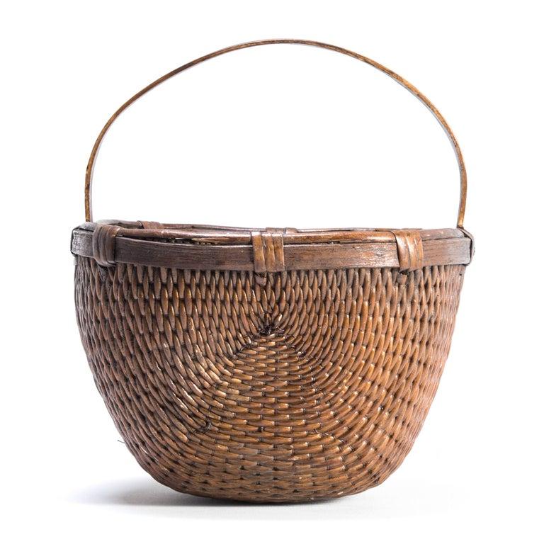 Organic Modern Chinese Willow Market Basket, circa 1900 For Sale