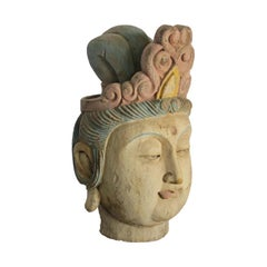 Chinese Wood Guan Yin Head with Multi-Color Headdress