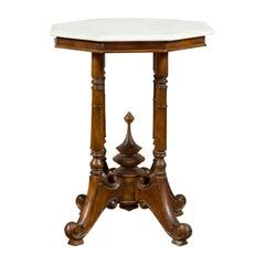 Chinese Wooden Guéridon Side Table with Octagonal White Marble Top and Finial