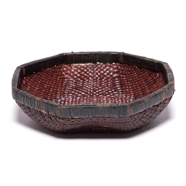 Qing Chinese Woven Field Basket, circa 1900 For Sale