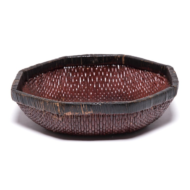 Lacquered Chinese Woven Field Basket, circa 1900 For Sale