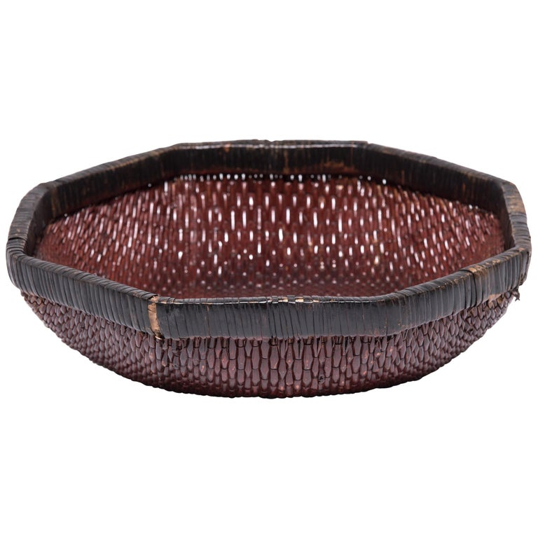 Chinese Woven Field Basket, circa 1900 For Sale