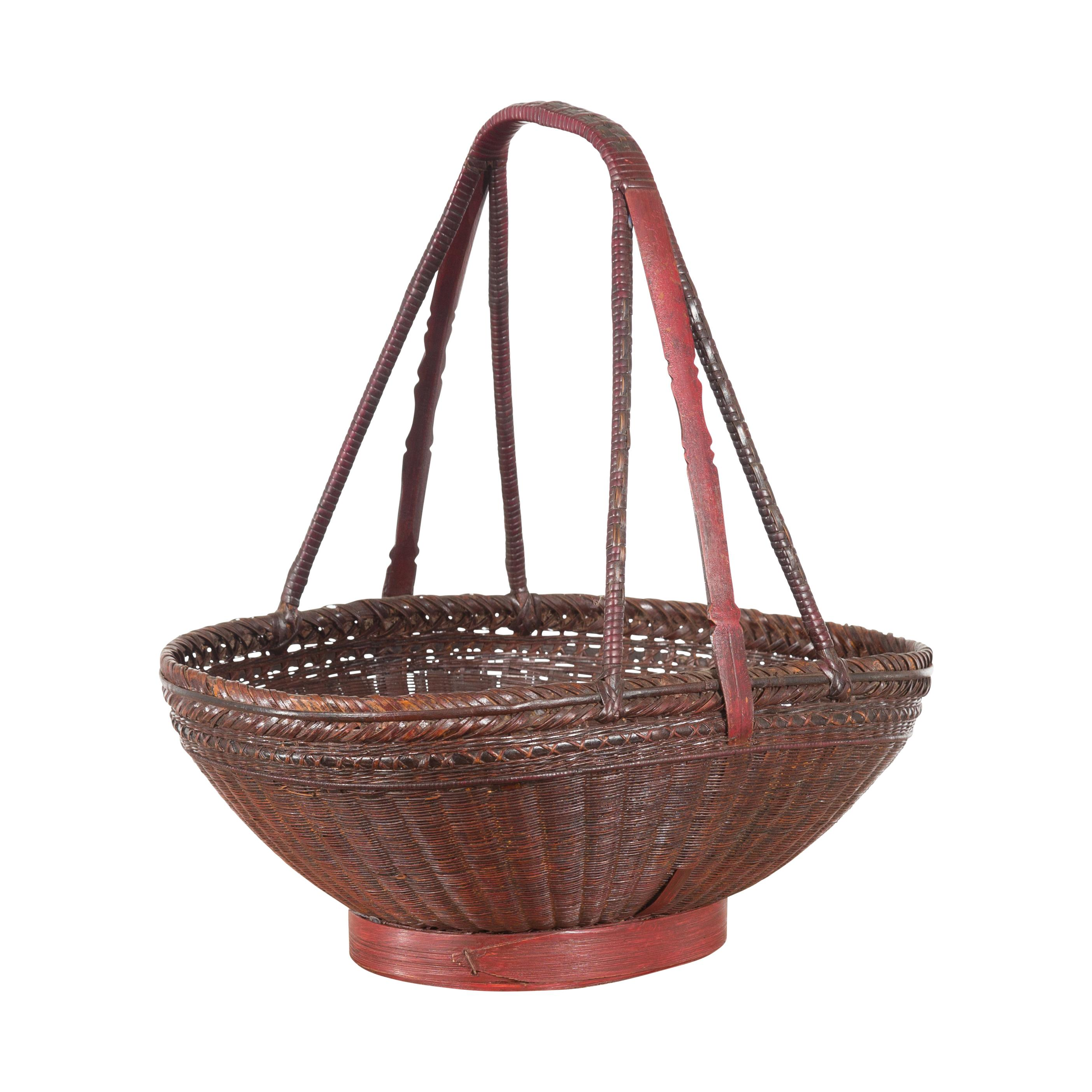 Chinese Woven Rattan Red and Brown Market Basket with Large Tripartite Handle