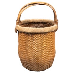 Chinese Woven Straw Basket with Handle