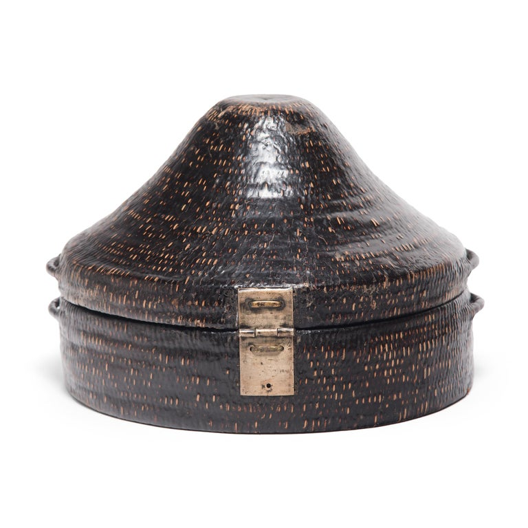 Qing Chinese Woven Summer Hat Box, circa 1850 For Sale