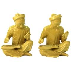 Chinese Yellow Ceramic Seated Mandarin Statues