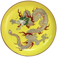 Chinese Yellow Porcelain Charger With Five-Clawed Dragon