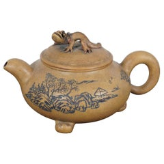 Chinese Yixing Zisha Marked Clay Teapot Gecko Lizard Landscape Footed Figural