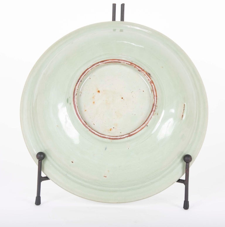 18th Century and Earlier Chinese Yuan Celadon Fluted Edge Green Glaze Plate For Sale