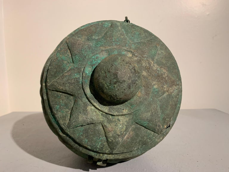 Chinese Yuan Dynasty Bronze Lotus Jar, 14th Century, China For Sale 4