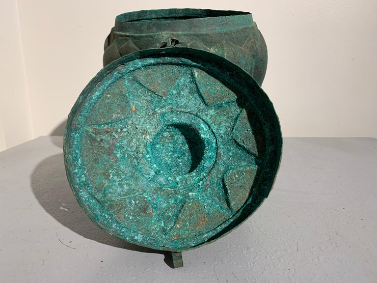 18th Century and Earlier Chinese Yuan Dynasty Bronze Lotus Jar, 14th Century, China For Sale