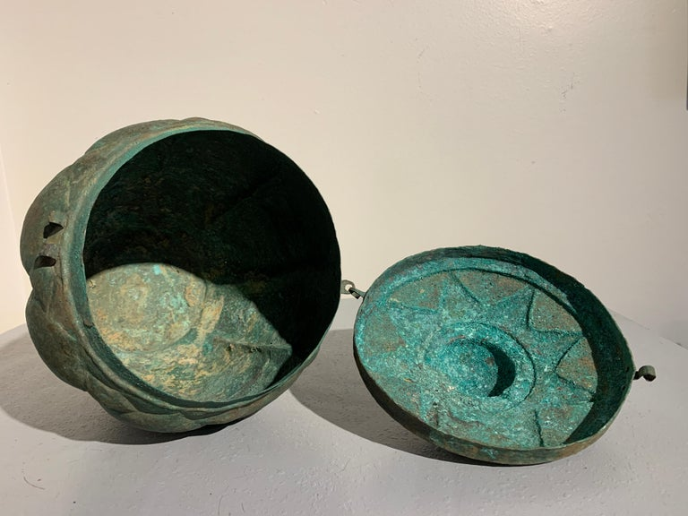 Chinese Yuan Dynasty Bronze Lotus Jar, 14th Century, China For Sale 1