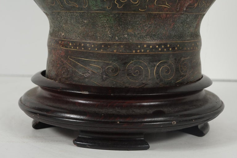 Chinese Zhou Dynasty Style Bronze Hue Inlaid with Gold  & Silver Wire For Sale 1