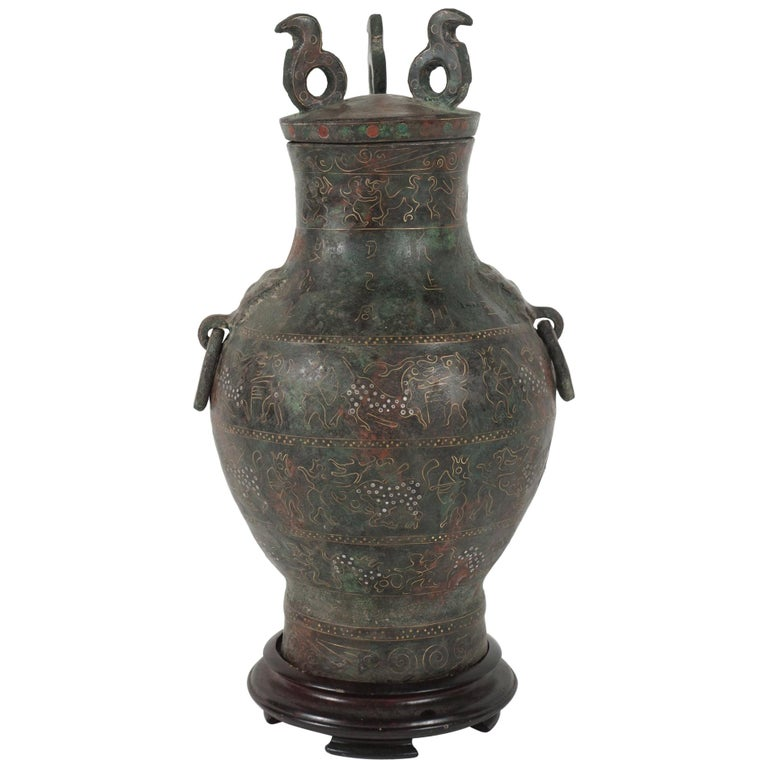 Chinese Zhou Dynasty Style Bronze Hue Inlaid with Gold  & Silver Wire For Sale
