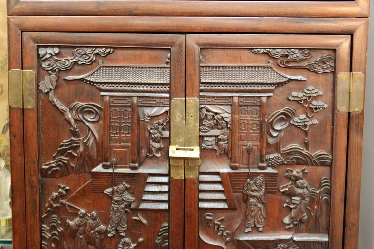 Hand-Carved Chinese Zitan Wood Cabinets with Hatchets For Sale