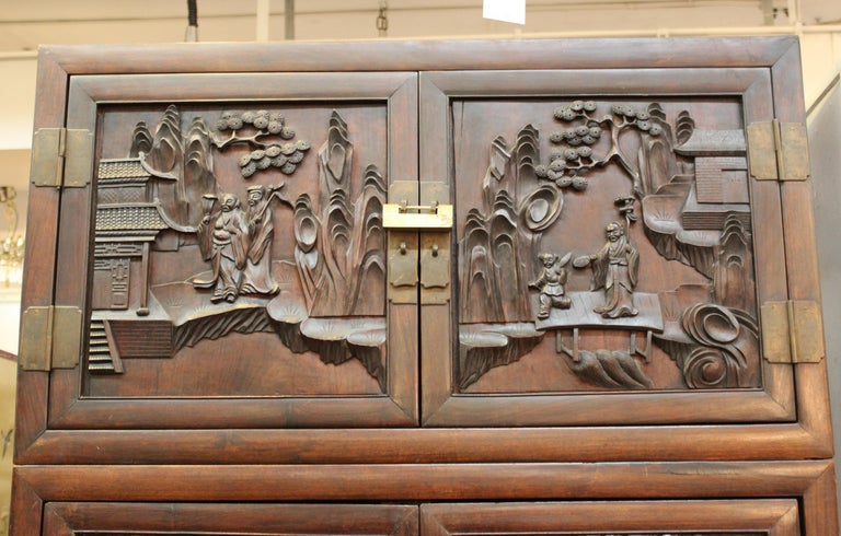 Chinese Zitan Wood Cabinets with Hatchets In Good Condition For Sale In New York, NY