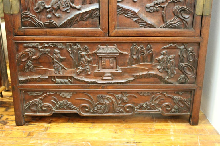 19th Century Chinese Zitan Wood Cabinets with Hatchets For Sale