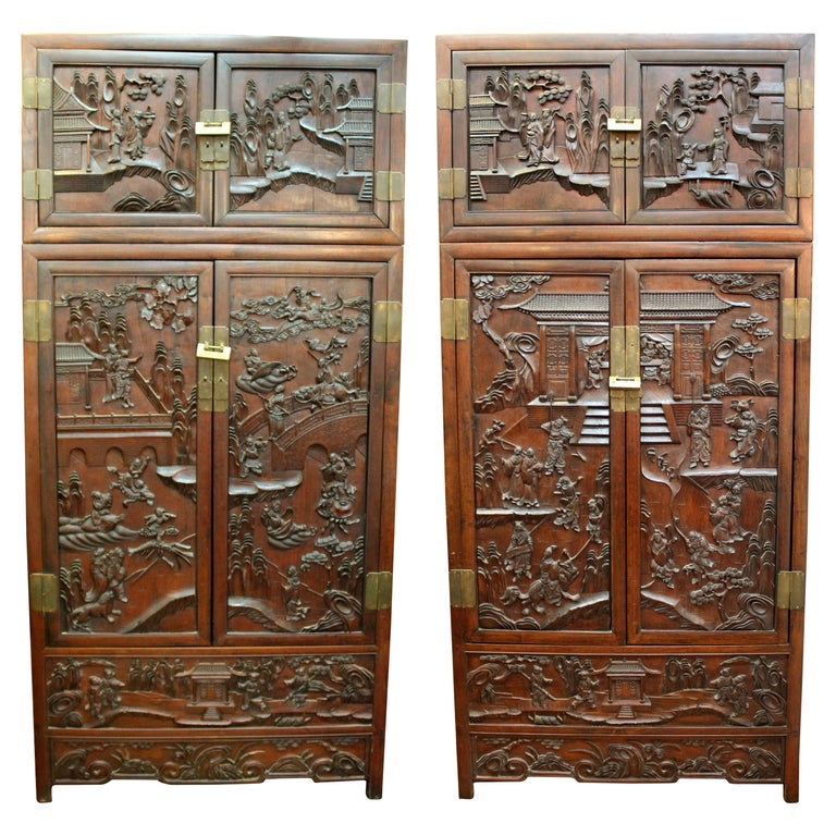 Chinese Zitan Wood Cabinets with Hatchets For Sale