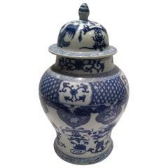 Ching Dynasty Blue and White Lidded Porcelain Ginger Jar