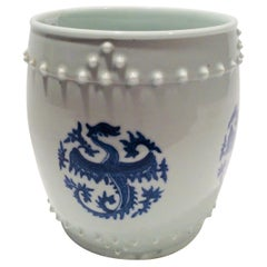 Ching Dynasty Blue and White Phoenix Design Porcelain Planter
