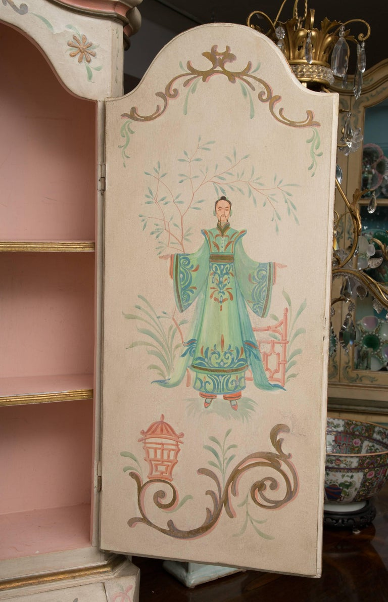 Chinoiserie and Cream-Painted Italian Queen Anne Style Secretary For Sale 8