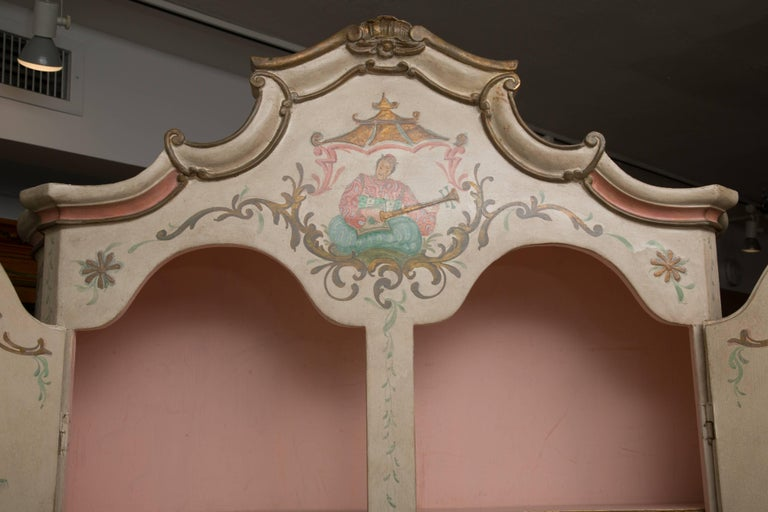 Chinoiserie and Cream-Painted Italian Queen Anne Style Secretary For Sale 9