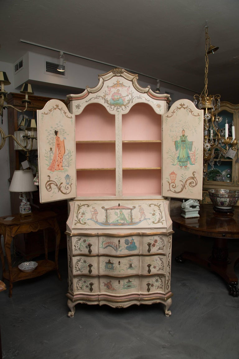 Chinoiserie and Cream-Painted Italian Queen Anne Style Secretary For Sale 13