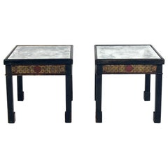 Chinoiserie Antiqued Mirror Top End Tables
