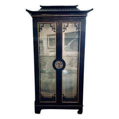 Chinoiserie Asian Black Lacquer Pagoda Style Display China Cabinet Vitrine