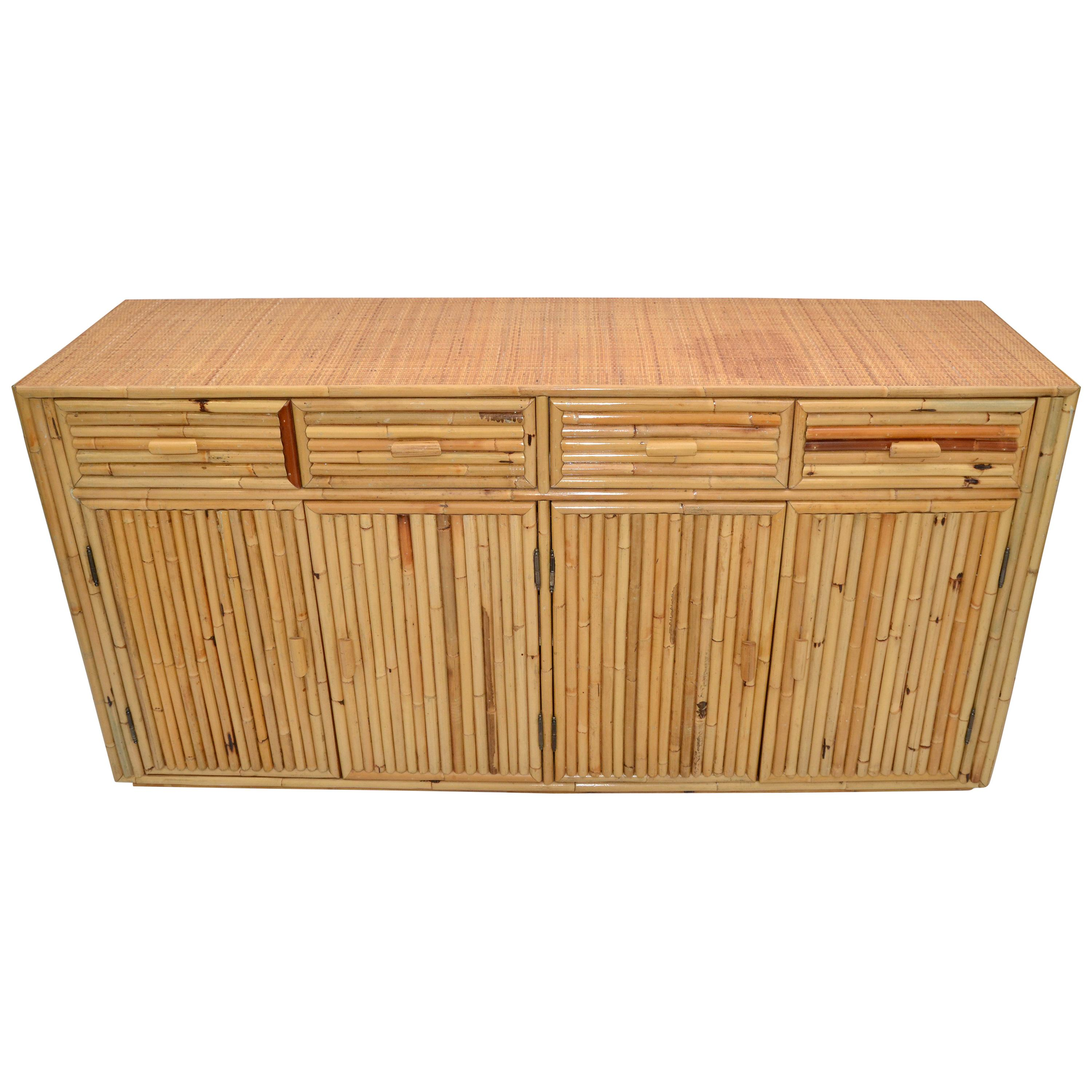 Chinoiserie Asian Modern Bamboo and Handwoven Cane Top Dresser, Credenza, 1970s