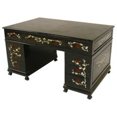 Chinoiserie Back Lacquered Art Deco Mother of Pearl Inlay Desk, Spain, 1940s