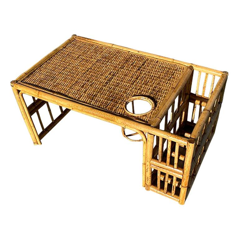 Chinoiserie Bamboo Breakfast Bed Tray with Magazine Rack and Cup Holder