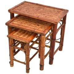 Chinoiserie Bamboo & Cane Nesting Tables / Stacking Tables Handcrafted, Set of 3