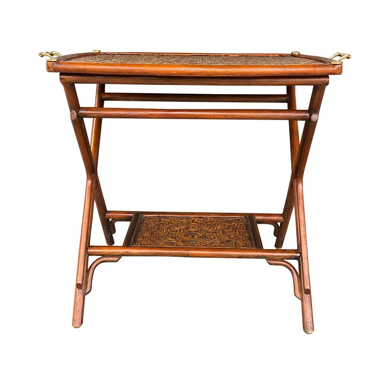 Bamboo and Cane Tray Table with removable Top Maitland Smith Philippines 1970s  In Excellent Condition For Sale In Oklahoma City, OK