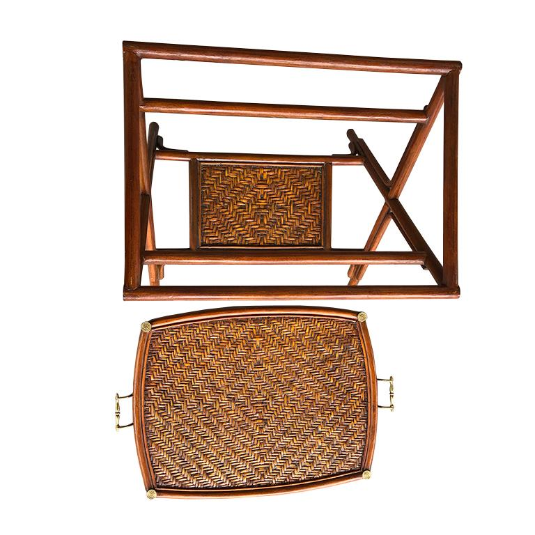 Late 20th Century Bamboo and Cane Tray Table with removable Top Maitland Smith Philippines 1970s  For Sale