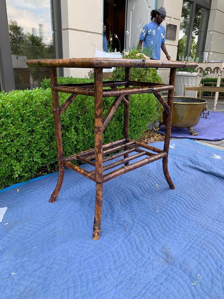 Chinoiserie Bamboo Side Table, circa 1900 In Good Condition For Sale In Atlanta, GA