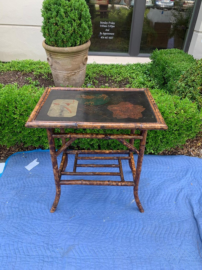 Chinoiserie Bamboo Side Table, circa 1900 For Sale 1