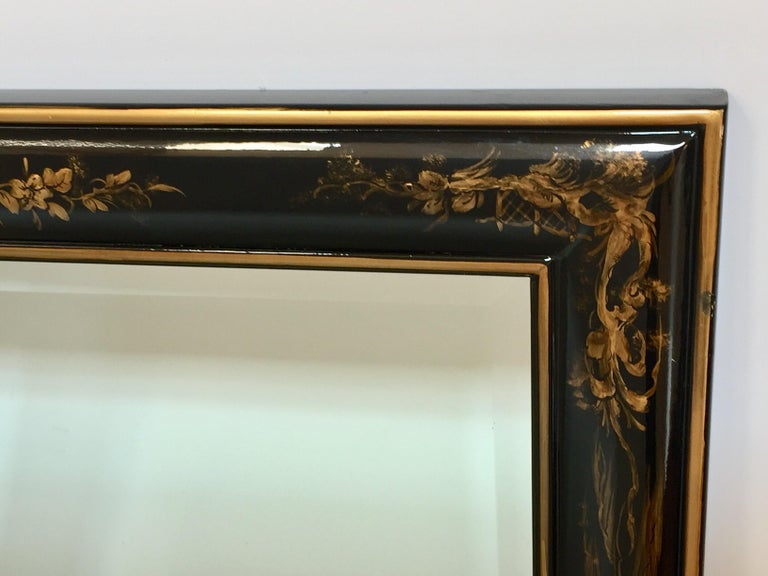 Chinoiserie Black And Gold Framed Rectangular Wall Mirror
