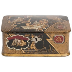 Chinoiserie Black Lacquer and Gilt Papier Mâché Tea Caddy Box