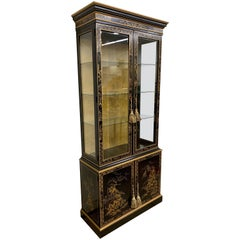 Chinoiserie Black Lacquer and Gold Lighted Display Cabinet