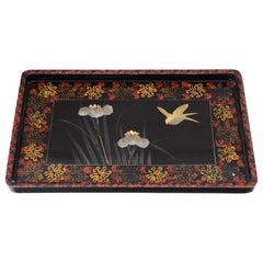 Chinoiserie, Black, Lacquer, Serving, Tray, circa 1910