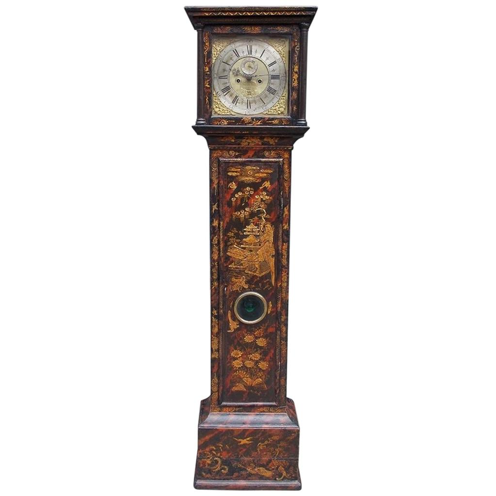 English Chinoiserie Black Lacquered Tall Case Clock, Maker J. Jackeman, C. 1680