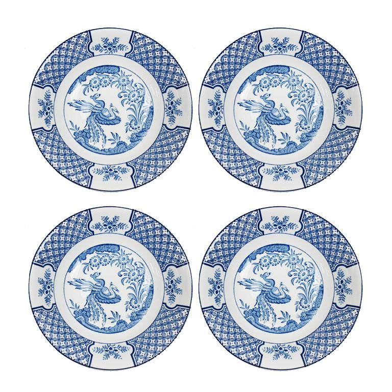 English Chinoiserie Blue and Green Vintage 24 Piece Blue Green Place Setting, Set of 4 For Sale