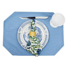 Chinoiserie Blue and Green Vintage 24 Piece Blue Green Place Setting, Set of 4
