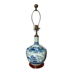 Chinoiserie Blue White Brass Ceramic Chinese Canton Balloon Pagoda Lamp