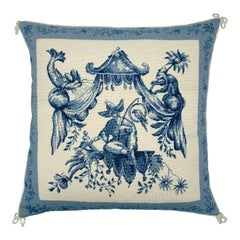Chinoiserie Blue and White Pagoda Needlepoint Pillow, 1970s