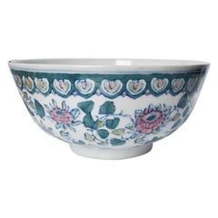 Chinoiserie Blue White and Pink Serving or Fruit Bowl
