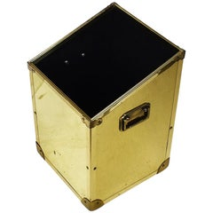 Chinoiserie Brass Storage Bin with Campaign Style Handles