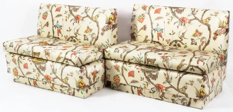 Brunschwig & Fils Vintage Chinoiserie Glazed Cotton Chintz Banquette Gorgeous custom ordered Chinoiserie Banquette. Cream background features a gently ordered pattern featuring acrobats, tigers, monkeys, elephants and stylized foliage, blossoms and