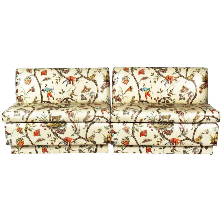 Chinoiserie Brunschwig & Fils Modern Polished Cotton Cream Banquette Bench For Sale
